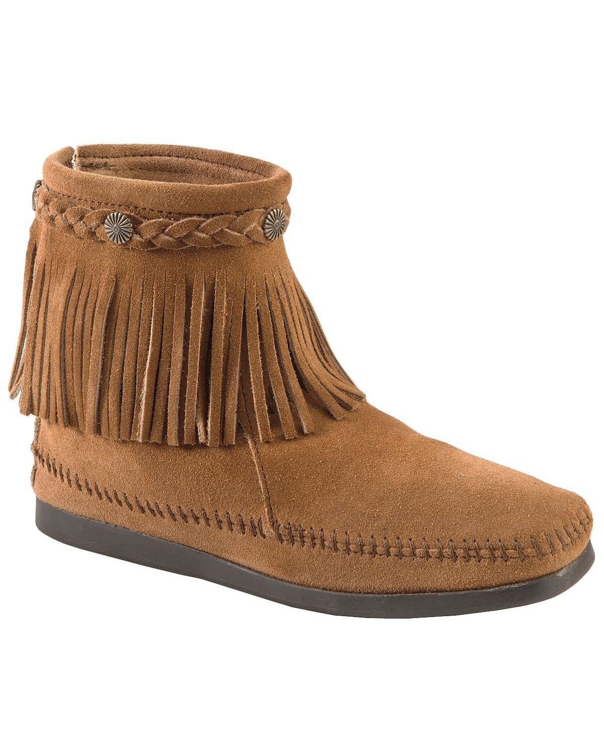Minnetonka suede leather knee high tall lace up moccasin fringe boots - Minnetonka Back Zipper Ankle Moccasins