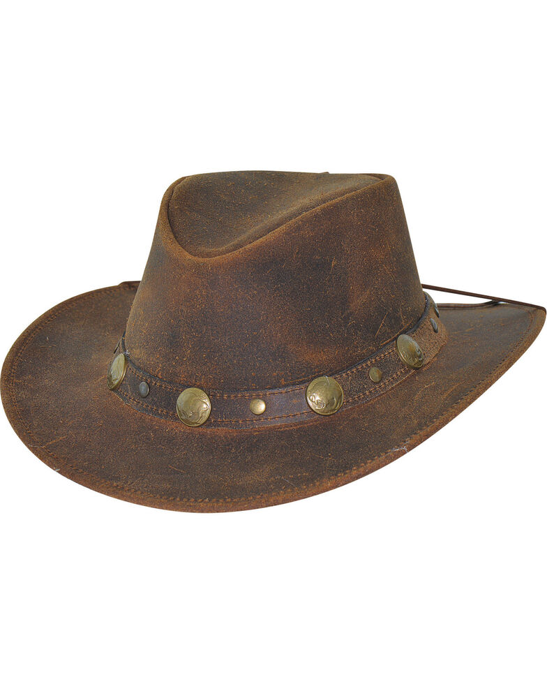 a217638b500a3 Bullhide Men s Brown Crackled Leather Hat