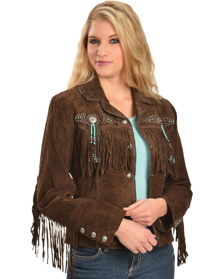 3b73fa27 Scully Fringe & Beaded Boar Suede Leather Jacket
