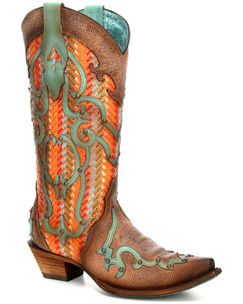 dc04476988 Corral Women s Multicolored Turquoise Overlay Cowgirl Boots - Snip Toe