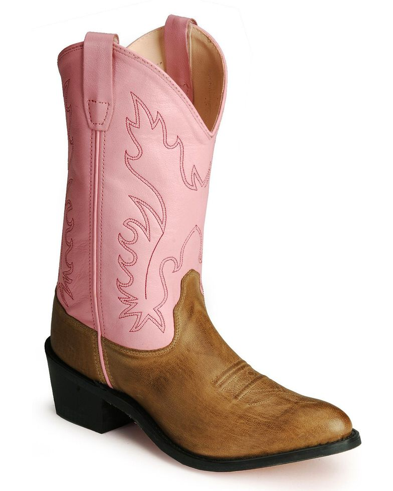 b3236aca9f66 Old West Youth Girls  Pink Cowgirl Boots