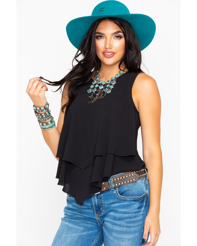 37251ac5338 Panhandle Women s Crepe Double Layer Flutter Tank