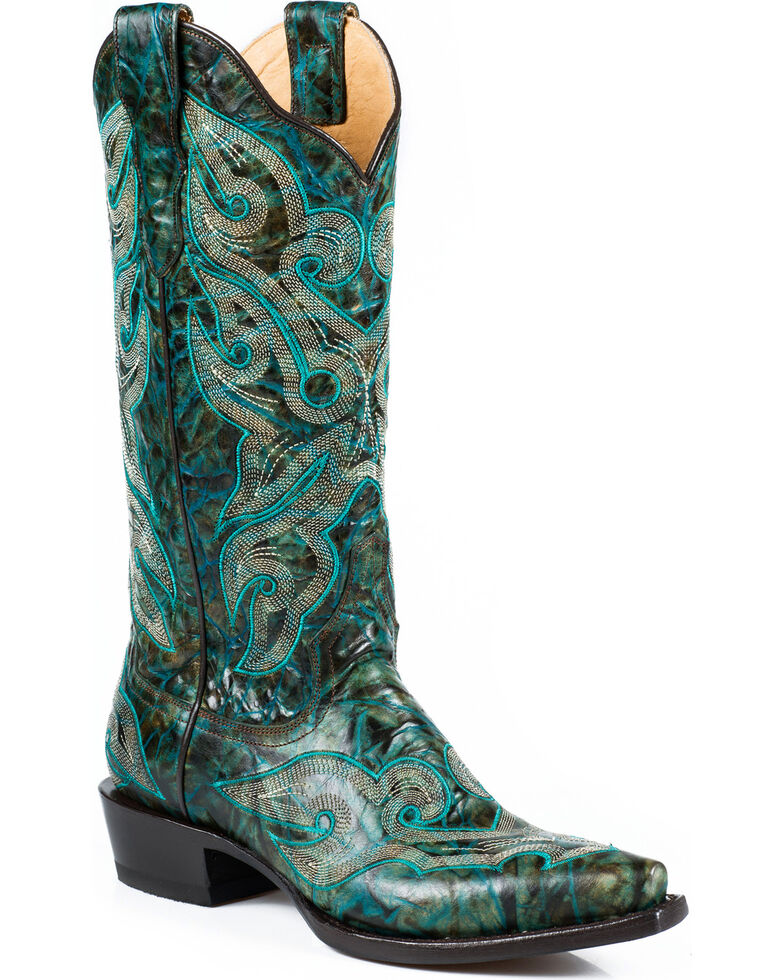 d1001a4c61 Stetson Women s Vintage Marbled Turquoise Western Boots - Snip Toe