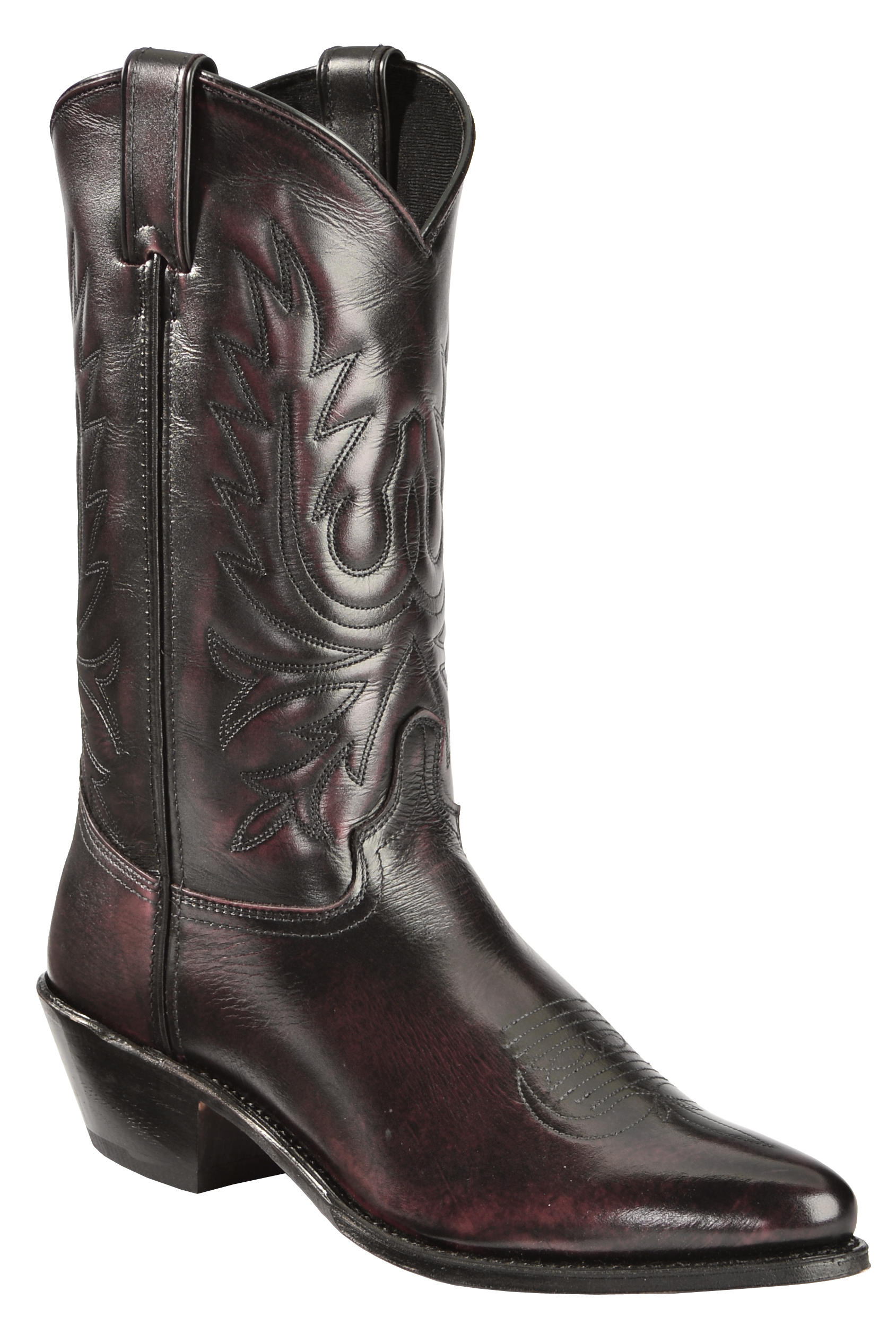 abilene black cherry polished cowhide boots medium toe